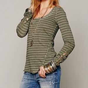 Free People, long sleeve, stripe top. Size Large.